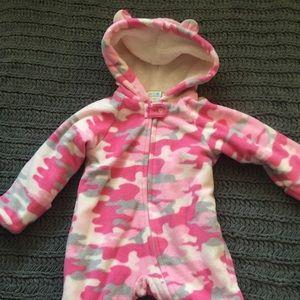 Pink Camouflage zip fleece